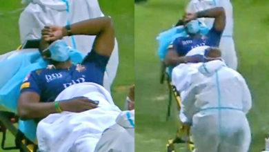 Photo of पीएसएल में बल्लेबाज़ी करते हुए आंद्रे रसेल हुए घायल, स्ट्रेचर पर ले जाये गए ग्राउंड से बाहर
